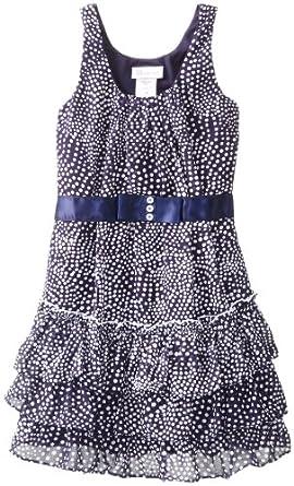 Bonnie Jean Big Girls' Sleeveless Printed Dot Chiffon with Tiered Skirt, Navy, 7