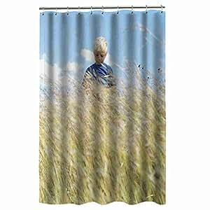 cool print custom boy field grass shower curtain for men fit 48 x 72 120cm x. Black Bedroom Furniture Sets. Home Design Ideas