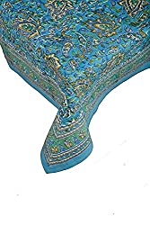 Petal Pushing Turquoise 58 x 86 tablecloth, Cotton hand-block printed