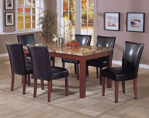 Buy Low Price Coaster 7pc Marble Top Dining Table & 6 Black Parson Chairs Set (VF_Dinset-120311-4077BLK)