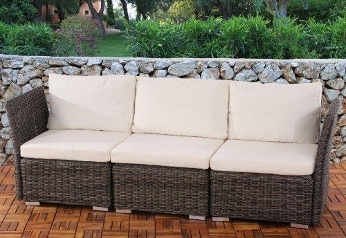 3er Sofa 3-Sitzer Siena Poly-Rattan, Gastronomie-Qualität ~ naturgrau mit Kissen in creme