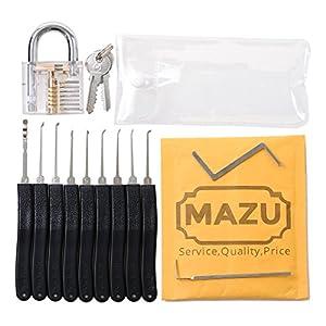 Kit de crochetage de serrure avec 11outils et cadenas d'entraînement transparent