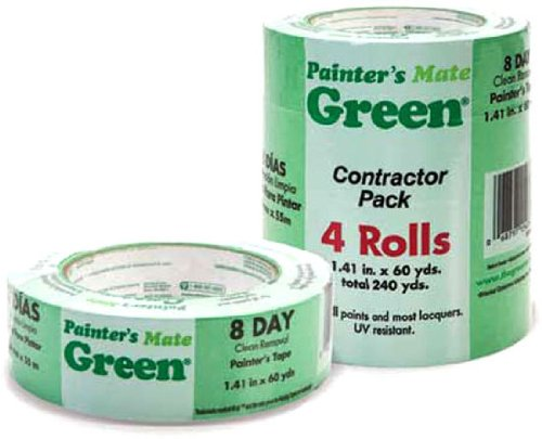 Painter's Mate 684275 Green 8-Day Painting Tape, 1.41-Inch by 60-Yard, 4-Pack of Rolls