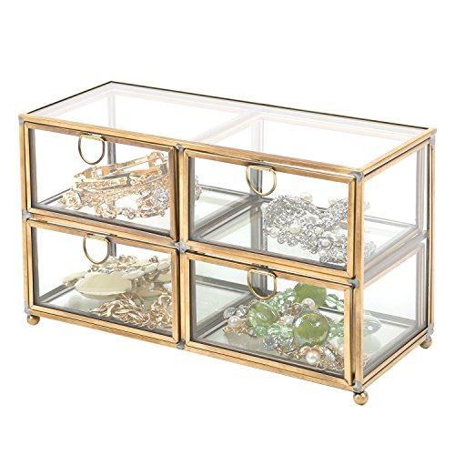 Vintage Clear Glass & Brass Metal 4 Drawer Display Box / Dresser Top Jewelry Storage Organizer - MyGift®