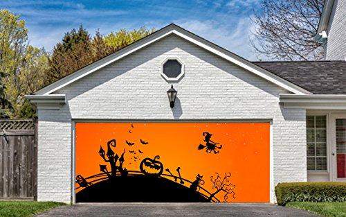 Garage Door Halloween Decorations Cover Decor Bats Pumpkin Witch Bat Billboard Outside Decoration for Garage Door (Halloween Decorations Garage Door)