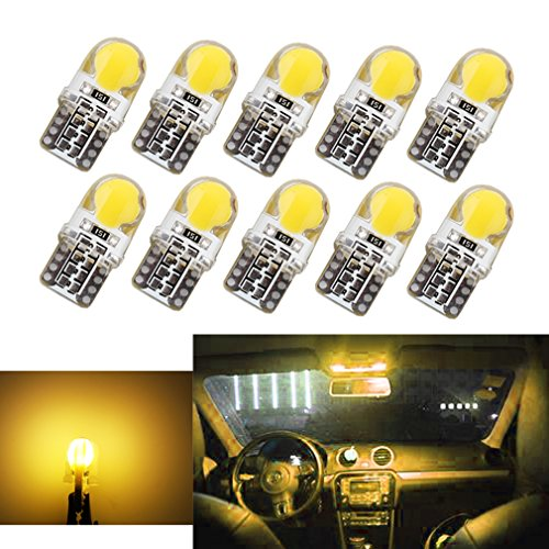 S&D 10 X COB Silica Gel T10 W5W Car LED bulbs Interior Light - Lamp DC 12V Yellow (Grand Caliber Adapter Plate D compare prices)