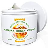 Natural Moisturizer Skin Cream By Wild Naturals - With Manuka Honey and Aloe Vera - Very Light, Non-greasy, Absorbs Quickly - All the Nutrients Your Skin Needs - For All Skin Types - Relieves Dry, Red, Irritated, Itchy & Cracked Skin - Natural Psoriasis Treatment, Eczema, Dermatitis, Acne & Rosacea - Antiviral - Restores Skin