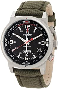 Timex Intelligent Quartz Black Dial Green Strap Compass Mens Watch T2N726
