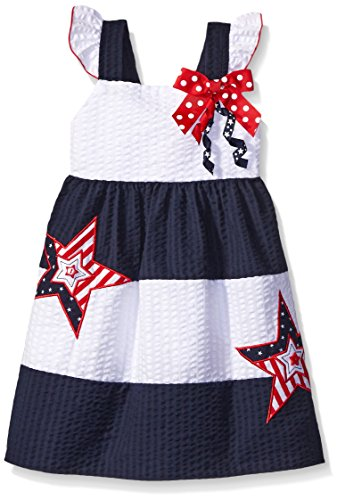 Good Lad Toddler Girls Seersucker Americana Sundress, Navy, 4T