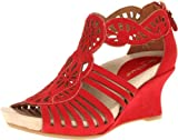 Earthies Women's Caradonna Wedge Sandal,Bright Red,10 M US