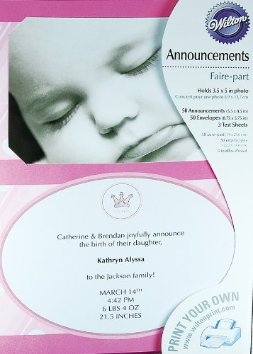 Wilton Pink Little Princess Baby Girl Birth Announcements 50 Sets - 1