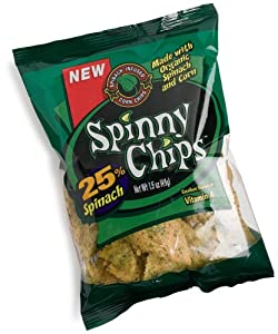 Spinny Chips, Spinach Infused Corn Chips, 1.5-Ounce Bags (Pack of 24)
