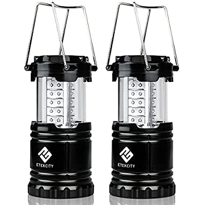 Etekcity 2 Pack Portable Outdoor LED Camping Lantern Flashlights (Black, Collapsible)
