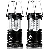 Etekcity 2 Pack Portable Outdoor LED Camping Lantern Flashlights (Black, Collapsible)