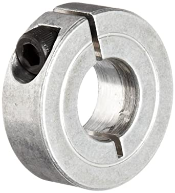 "Climax Metal 1C-056-A One-Piece Clamping Collar, Aluminum, 9/16"" Bore, 1-5/16"" OD, 7/16"" Width"