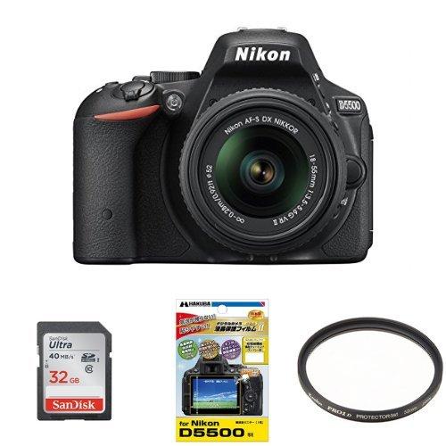 Nikon デジタル一眼レフカメラ D5500 18-55 VRII レンズキット ブラック 2416万画素 3.2型液晶 タッチパネル + SanDisk Ultra SDHCカード UHS-I Class10 32GB 他2点セット