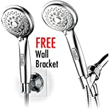 HotelSpa® AquaCare series 7-setting Hand Shower Luxury Convenience Package with Patented On/Off Pause Switch, Extra-long Hose & Bonus Low-Reach Bracket
