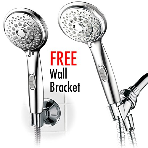 HotelSpa® AquaCare Series Shower Luxury Convenience Package: 7-setting Handheld Shower-Head with Patented ON/OFF Pause Switch, Extra-Long Hose & Bonus Low-Reach Bracket (On Off Shower Head compare prices)