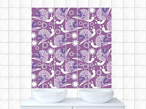 Carrelage Carreaux mureaux escargots Carrelage de salle de bain fleurs (tuile: 15x15cm // Image: 90x90cm (BxH))