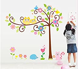 The Real Peel Premium Removable Wall Stickers for Kids Rooms, Nursery, Baby, Boys & Girls Bedroom - Peel & Stick, Large Removable Vinyl Wall Decal Stickers (Owls & Friends)