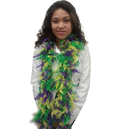 Mardi Gras Boa With Gold Tinsel - Purple Green and Gold Feather Boa