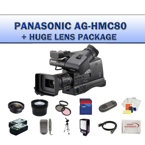 Panasonic AG-HMC80 3MOS AVCCAM HD Shoulder-Mount Camcorder + Huge 32GB Professional Lens Package