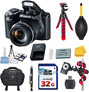 Canon PowerShot SX510 HS 12.1 MP CMOS Digital Camera Video Bundle with Commander 32GB High Speed Memory Card + Card Reader + Deluxe Case + Commander Starter Kit