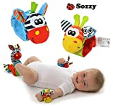 4pcs/lot=2 Pcs Waist+2 Pcs Socks, 2015 New Hot Toy Baby Rattle Toys Garden Bug Wrist Rattle and Foot Socks