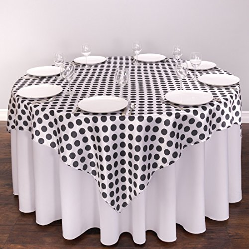 120 in round polka dot satin tablecloth pink white home for Black polka dot tablecloth