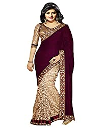 Ecoco Fashion Women's Net Saree (ECOCO-OS04, Maroon)