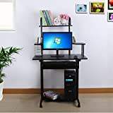 Songmics Black Office Computer Desk / Large PC Desktop / With Sliding Keyboard / Home Office Study Workstation / Computer table LCD778B