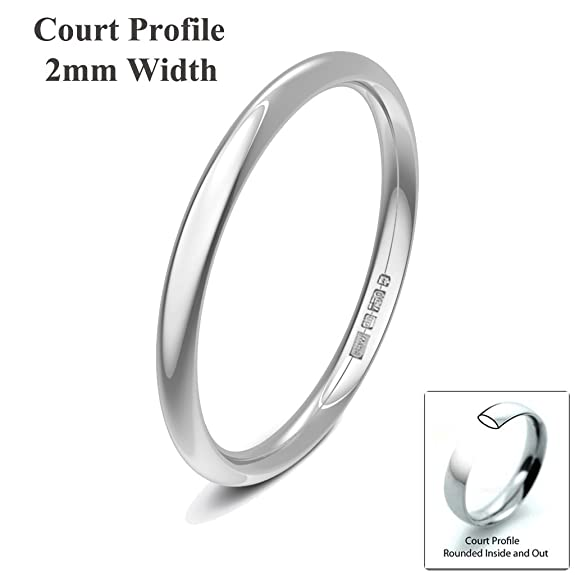 Xzara Jewellery - 18ct White 2mm Court Profile Hallmarked Ladies/Gents 1.9 Grams Wedding Ring Band