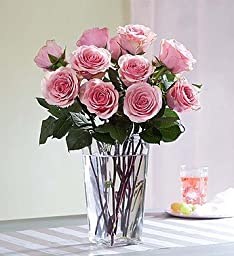 Pink Roses, 12-24 Stems 12 Stems with Clear Vase by 1-800 Flowers