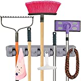 Anybest®Mop and Broom Holder, Wall Mounted Garden Tool Storage Tool Rack Storage & Organization for Your Home, Closet, Garage and Shed, Holds Up To 11 Tools,Superior Quality Tool Rack Holds Mops, Brooms, or Sports Equipment (5-Position)