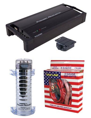 Power Acoustik Rz1-2300D 2300W Mono Car Amplifier + 2 Farad Capacitor + Amp Kit