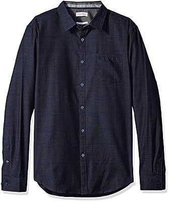 Calvin Klein Men's Slim Fit Long Sleeve Jacquard Plaid Button Down Shirt