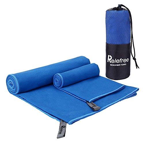 Relefree 2 Pezzi di Asciugamani in Microfibra da Palestra, Spiaggia, Sportive, Viaggio o Campeggio (Blu, 150*75cm & 60*40cm)