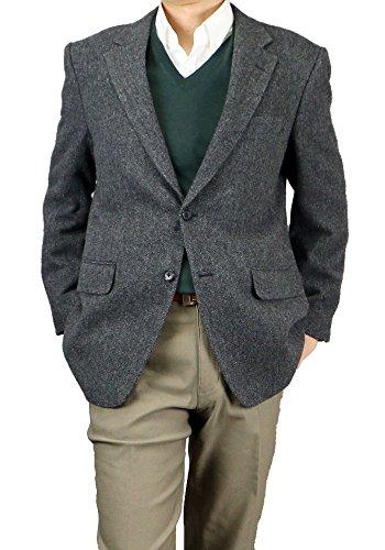 ウール100% ヘリンボン ジャケット ブレザー メンズ 215358 215359【A】チャコールヘリンボン BB体6号(L)
