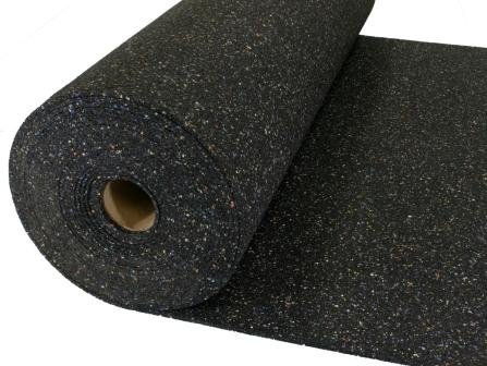 Heavy Acoustical Rubber Flooring Underlayment/Padding - 16db Decrease - Impact Sound Reduction - Home Theater Sound Reduction - 2mm thick - Recycled Rubber - Made in the USA - 200sq Ft Roll