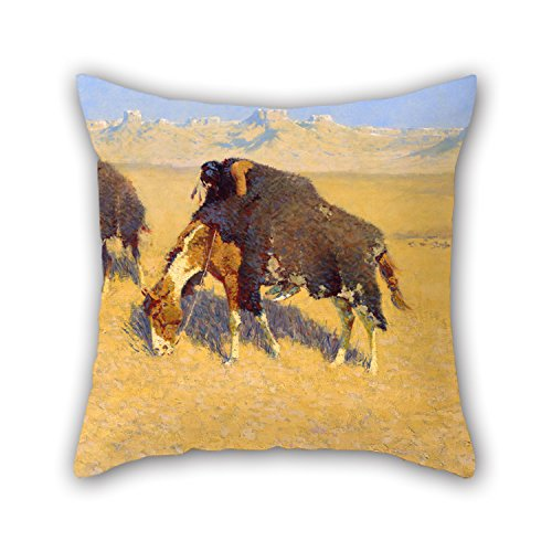 Oil Painting Frederic Remington - Indians Simulating Buffalo Pillowcase 16 X 16 Inches / 40 By 40 Cm Gift Or Decor For Kitchen,teens,her,teens Boys,play Room,bedroom - Twin Sides (Teen Bedroom Accesories compare prices)