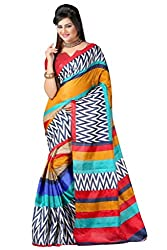 RGR Enterprice Woman's Bhagalpuri Designer Saree (ZIG ZAG PRINT_Multi-Coloured_Free Size)