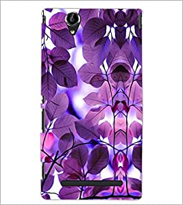 PrintDhaba Purple Leaves D-1178 Back Case Cover for SONY XPERIA T2 ULTRA (Multi-Coloured)