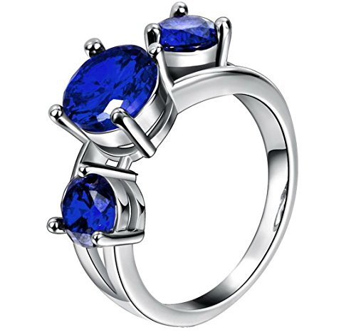 PSRINGS Charming Blue Sapphire Ring Halloween Aneis White Gold Filled Engaget Rings 8.0 (Lil Kim Halloween Costume compare prices)