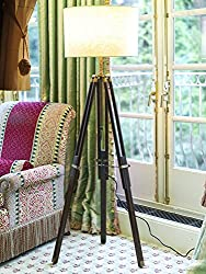 Teak Wood Tripod Floor Lamp with Shade and Bulb