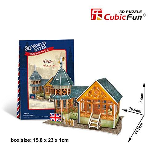 """Cubicfun Cubic Fun 3d Puzzle Model 25pcs British Flavor Villa 16.5cm/6.5"""" - 1"""