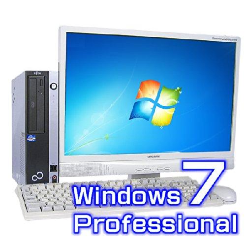 中古デスクトップパソコン 富士通 ESPRIMO D750/A 22インチワイド液晶セット【Windows7 Pro・Core i3】