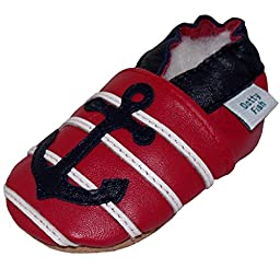 Dotty Fish Baby Boys Soft Leather Shoe with Suede Soles 2-3 Years Red and Navy Anchor