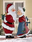 Collections Etc - Kissing Clauses Christmas Outdoor Garden Stakes Santa