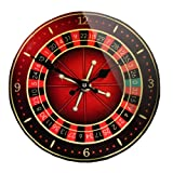 Homescapes Horloge murale Roulette, en verre, 23 cm de diamètre, rouge noir...