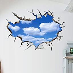 Amaonm® Removable 3D Vivid Blue Sky Holes Break Through the Wall Wall Stickers for Wall and Ceiling Home Art Decor Decorations Wall Decals for Kids Boy Girls Bedroom Playroom (58*88cm)